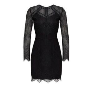 Greylin Black Sheath Lace Illusion Dress Sz XS